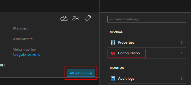 public ip settings configuration