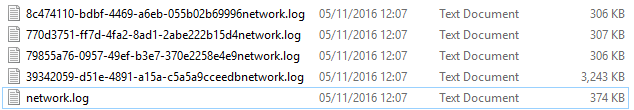 Log files on disk